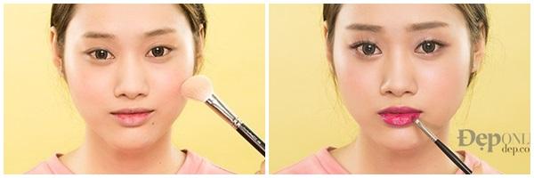 makeup tông hồng cho nàng mặt tròn deponline
