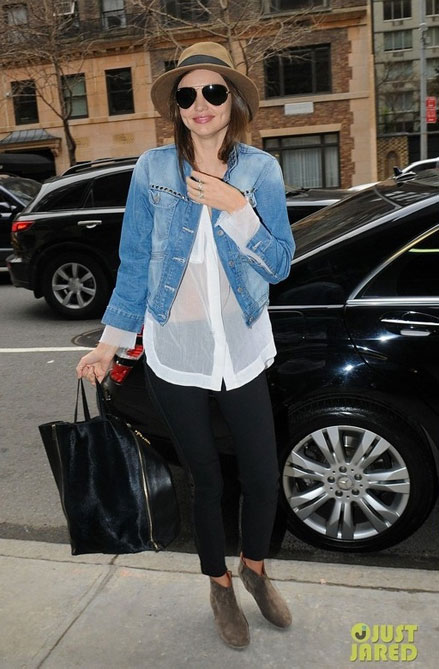 Miranda Kerr, denim jacket, jeans