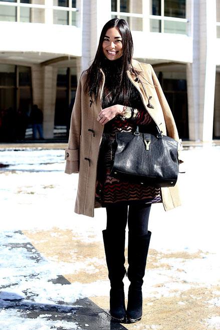 áo khoác camel, boot cổ caoStreetstyle cho những ngày rét đậm