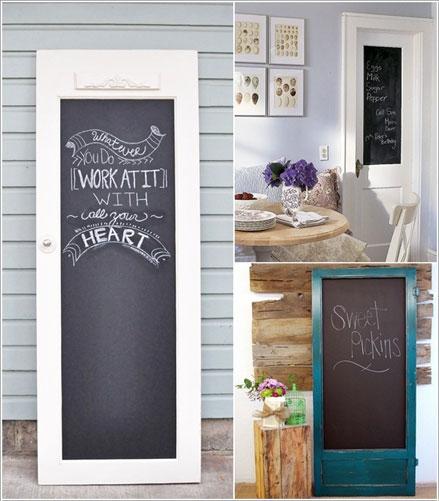 cửa cũ làm khung bảng