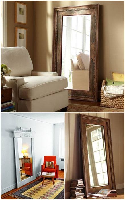 cửa cũ làm khung gương