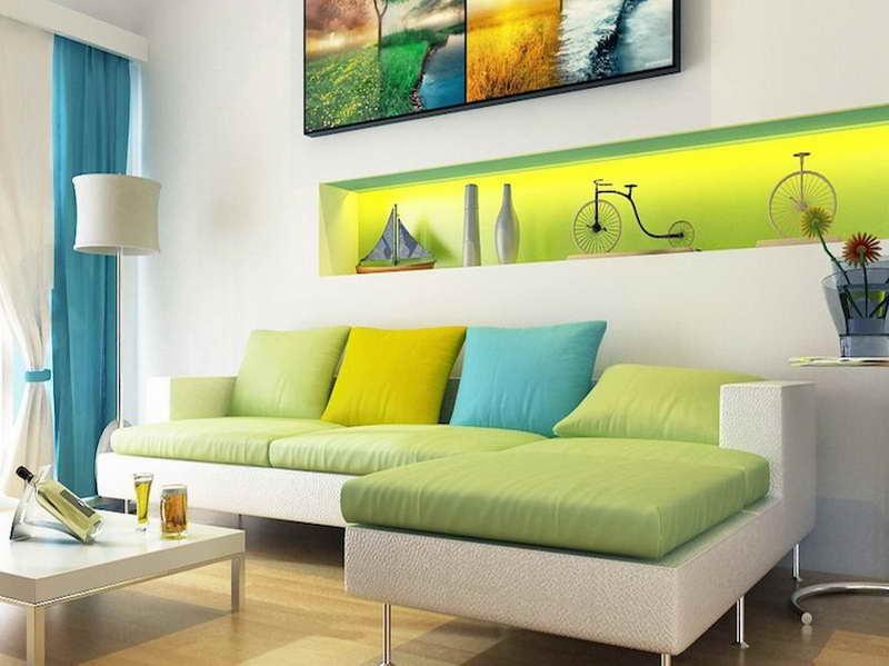 Thiết kế nội thất phòng khách với màu sắc liền kề