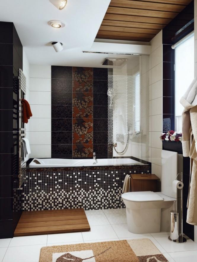 Black white brown bathroom