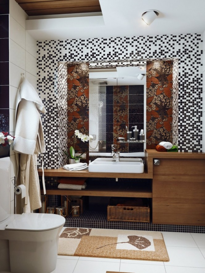 Tiny mosaic tiles create a feeling of increased wall space, as it takes many, many of the little tiles to fill the expanse! You can also feel smug that your small wall space will cost a lot less to cover than a larger bathroom, so you can go edge to edge for a fully indulgent look.