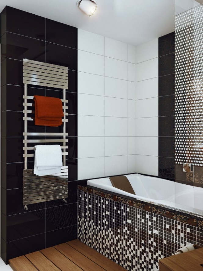 Black white mosaic bathroom tile