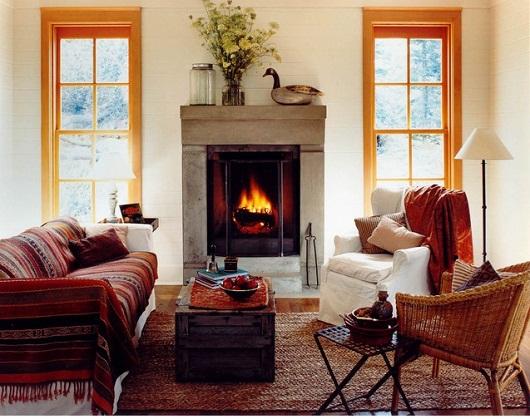 ngôi nhà mùa đông, thiết kế nội thất ấm áp