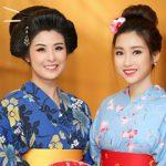 Hoa hậu Ngọc Hân và Mỹ Linh xinh đẹp trong trang phục Kimono