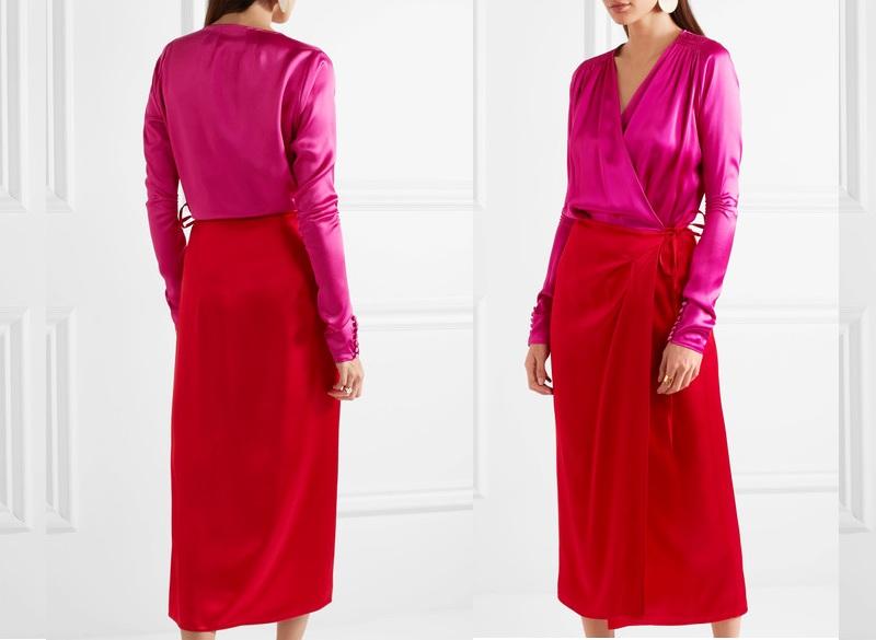 Gợi ý từ Đẹp Online: Attico Gabriela Two-Tone Satin Wrap Dress