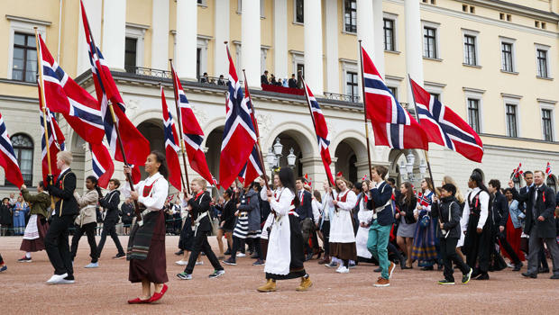Children take part in a parade to celebrate Norway's Independence Day outside the Castle in Oslo on May 17, 2015. AFP PHOTO / NTB scanpix /JUNGE, HEIKO NORWAY OUT (Photo credit should read Junge, Heiko/AFP/Getty Images)