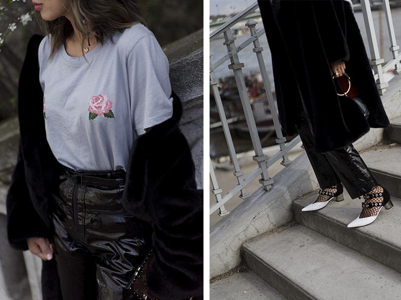 Aimee Song tất nhiên luôn đi đầu xu hướng khi trình làng chiếc áo thun thêu hoa đặc sắc, dễ ứng dụng đến từ thương hiệu đồng sáng lập Two Songs. Cô nàng khéo léo phối chiếc áo xinh đẹp này với quần vinyl, giày mũi nhọn và tất lưới, đi kèm chiếc túi Nile của Chloe vô cùng phong cách