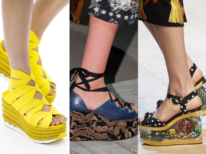 Nét quyến rũ khó cưỡng của những đôi giày flatform đế bằng được cách điệu đặc sắc (Từ trái qua: Salvatore Ferragamo, Erdem, Dolce & Gabbana)