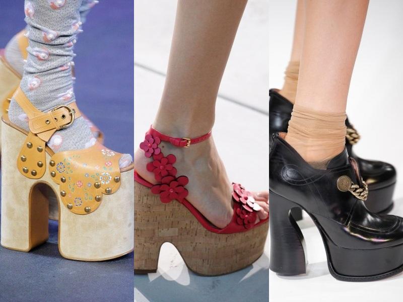 """Những thiết kế với phần gót cao ngất ngưởng cực """"hot"""" mùa trước vẫn tiếp tục giữ """"nhiệt"""" trên các sàn diễn mùa Xuân Hè này (Từ trái qua: Marc Jacobs, Michael Kors, Maison Martin Margiela )"""