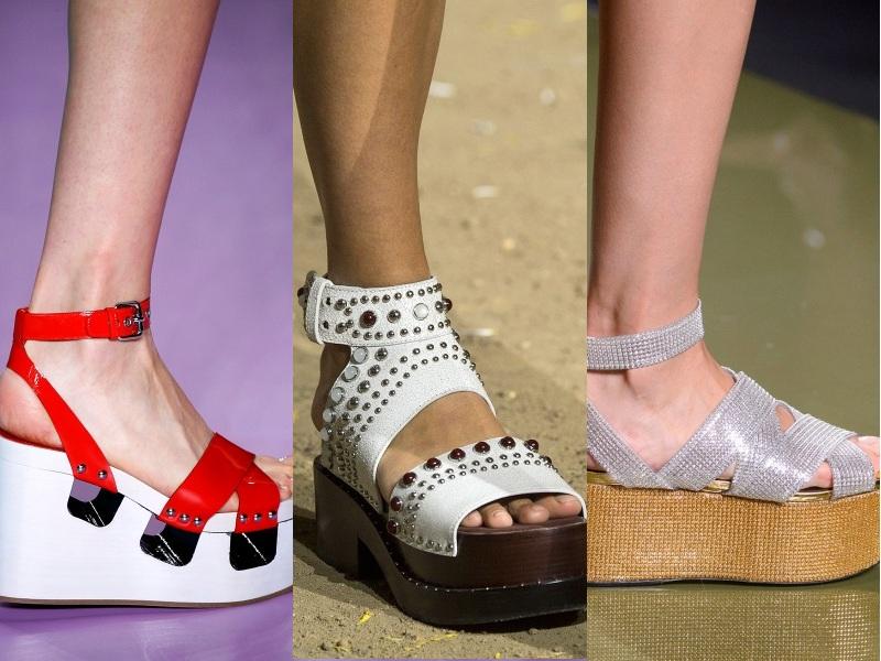 Cận cảnh một số thiết kế giày flatform ấn tượng được các nhà mốt tích cực lăng xê (Từ trái qua: Miumiu, 3.1 Phillip Lim, Balmain)