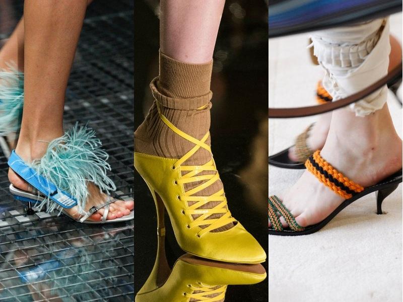 Giày gót thấp còn tạo cảm giác thoải mái, dễ chịu cho đôi chân, rất phù hợp với các quý cô công sở năng động, sành điệu (Từ trái qua: Prada, Givenchy, Loewe)