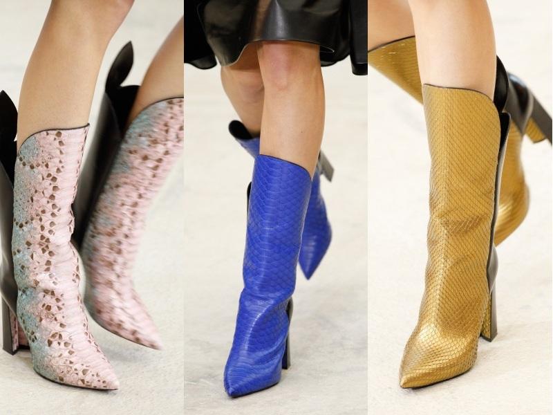 Show diễn cùa nhà mốt Louis Vuitton tràn ngập những đôi bốt lửng da rắn phối màu thanh lịch, hút hồn giới mộ điệu
