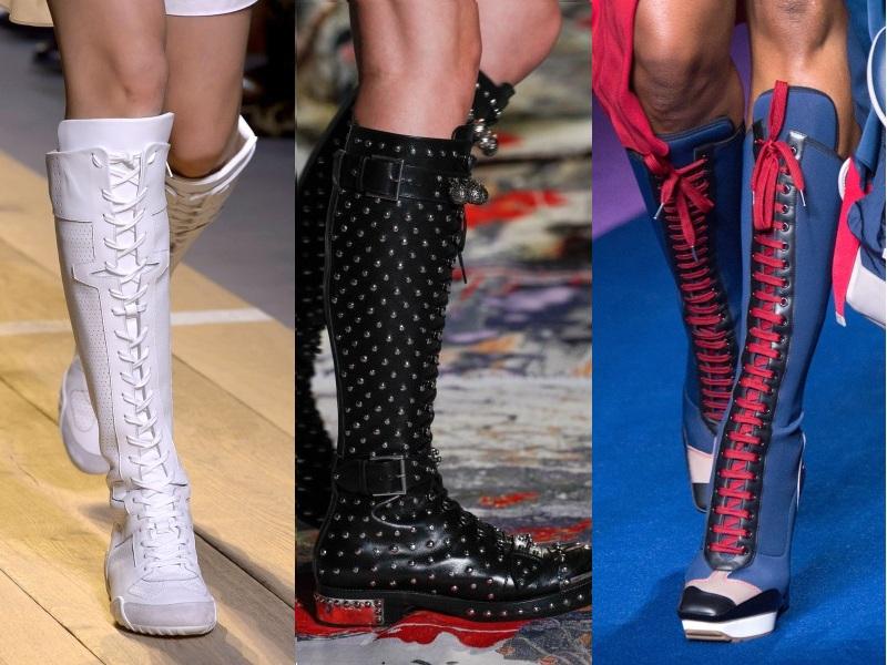 Vẻ đẹp cá tính của các thiết kế bốt thắt dây đậm chất thể thao gây ấn tượng không kém (Từ trái qua: Christian Dior, Alexander Mcqueen, Versace)