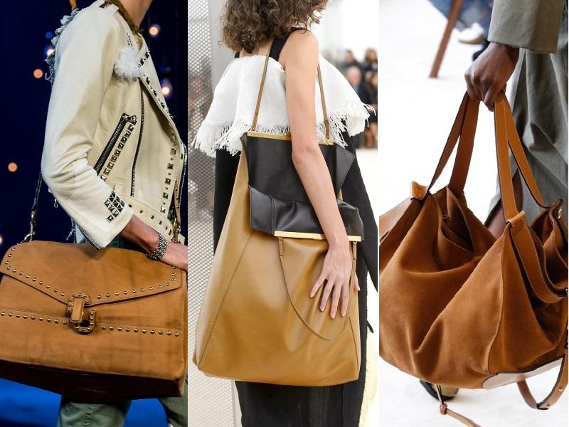 Những chiếc túi quá khổ mang sắc nâu camel sang trọng trên nền chất liệu da, da lộn là món phụ kiện sành điệu dành riêng cho các quý cô trong mùa mốt Xuân Hè 2017 (Từ trái qua: Marc Jacobs, Celine, Loewe)