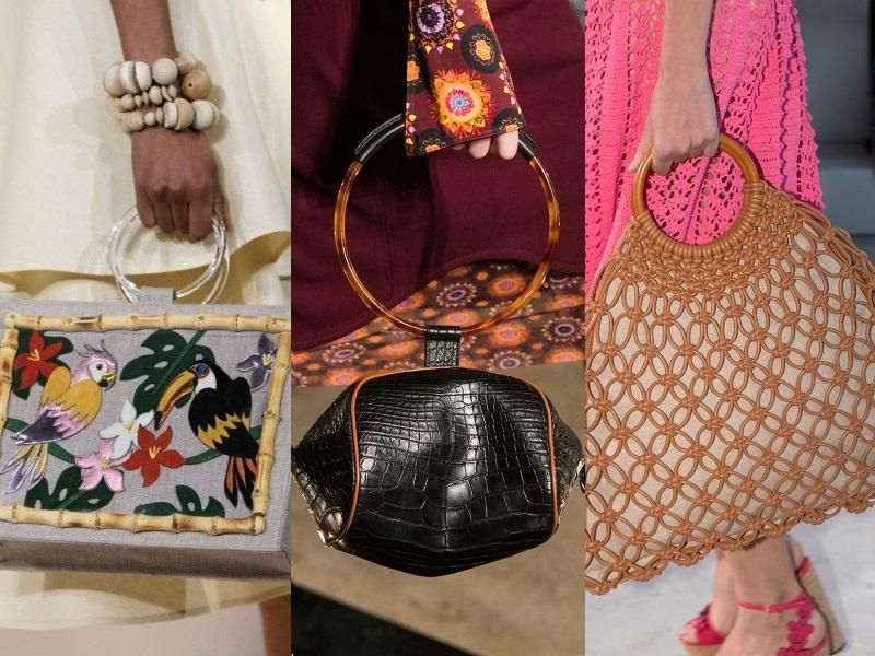 Quai cầm chắc chắn của túi vừa là điểm nhấn thú vị vừa tô đậm vẻ đẹp khỏe khoắn (Từ trái qua: Charlotte Olympia, Givenchy, Michael Kors)