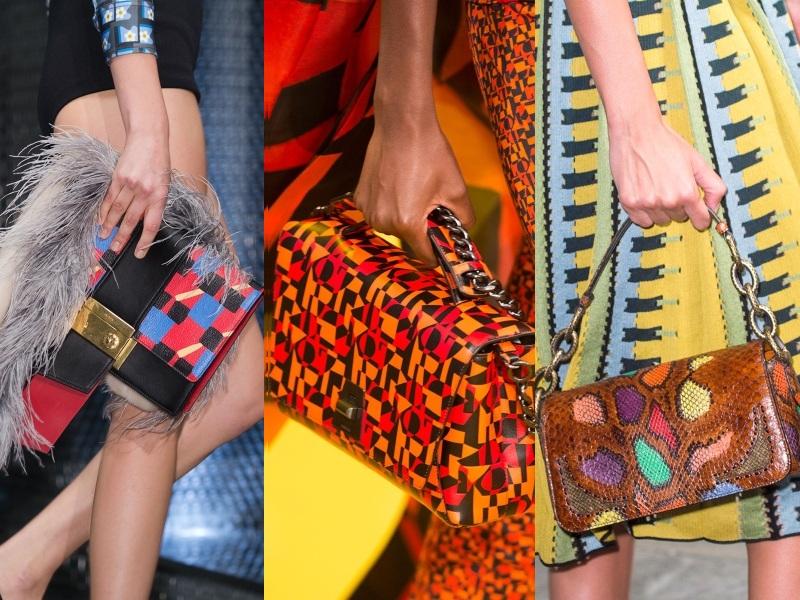 Họa tiết in rực rỡ, đồng điệu với trang phục mang bầu không khí tươi vui theo từng bước chân của phái đẹp (Từ trái qua: Prada, Akris, Bottega Veneta)