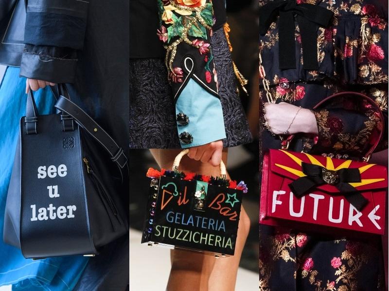 """Cận cảnh vẻ đẹp của những chiếc túi """"biết nói"""", chứa đựng những thông điệp, tuyên ngôn thời trang ấn tượng (Từ trái qua: Loewe, Dolce & Gabbana, Gucci)"""