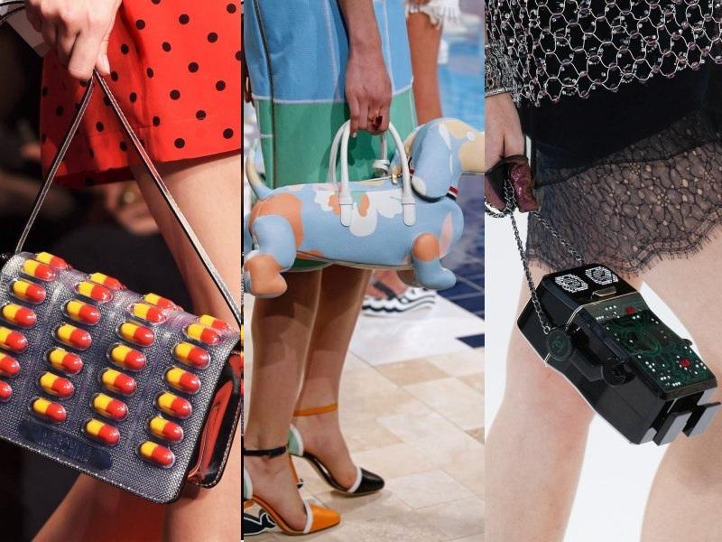 """Một số thiết kế túi """"nóng bỏng tay"""" khác mà các tín đồ thời trang không thể """"ngoảnh mặt làm ngơ"""" (Từ trái qua: Moschino, Thom Browne, Chanel)"""