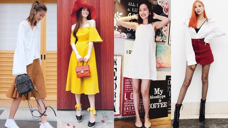 """Ngày nắng đầu hè, Hồ Ngọc Hà và loạt sao """"tỏa sáng"""" trên phố với trang phục """"tỏa nắng"""""""