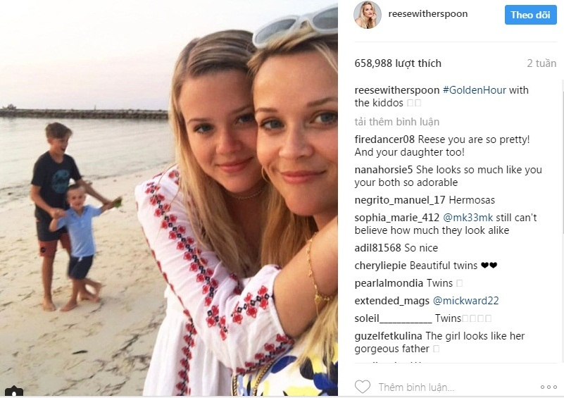 Bức ảnh chụp cùng con gái mới nhất trên instagram của Reese Witherspoon