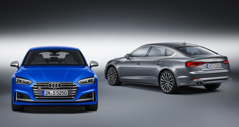 Audi S5 Sportback Static photo, Color: Ara Blue Audi A5 Sportback Dynamic photo, Color: Daytona Grey