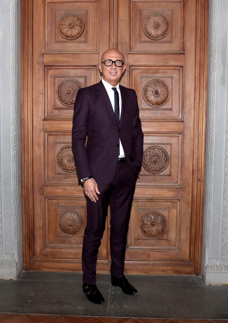 arrives at the Gucci Cruise 2018 fashion show at Palazzo Pitti on May 29, 2017 in Florence, Italy.