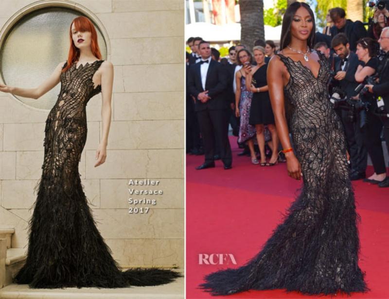 """""""Báo đen"""" Naomi Campbell chọn một mẫu đầm đuôi cá cũng trong BST Xuân Hè 2017 của Atelier Versace."""