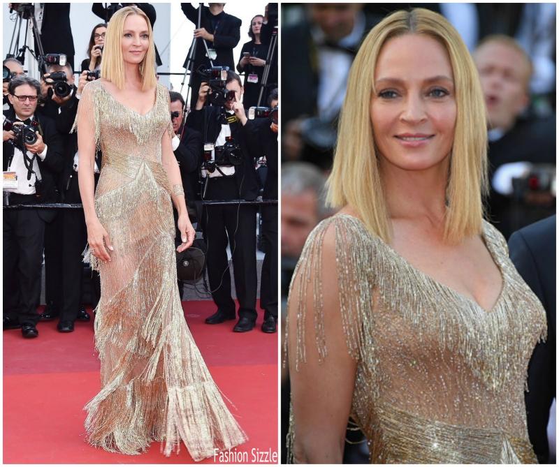 Nữ diễn viên Uma Thurman thường xuyên lựa chọn các thiết kế của Donatella Versace cho những sự kiện lớn. Lần này tại LHP Cannes lần thứ 70, cô chọn một thiết kế đầm của Atelier Versace với những chi tiết tua rua (fringe) lấp lánh sinh động.