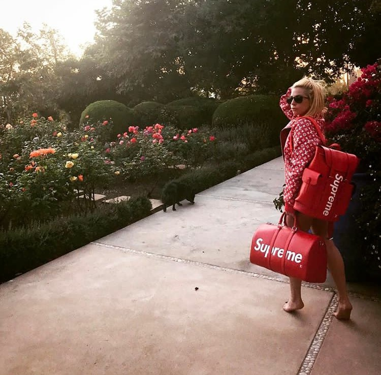 Khi mà cả thế giới vẫn đang quay cuồng tìm cách sở hữu những món đồ trong BST Louis Vuitton x Supreme thì nữ ca sĩ Lady Gaga đăng tải hình ảnh này lên mạng xã hội Instagram