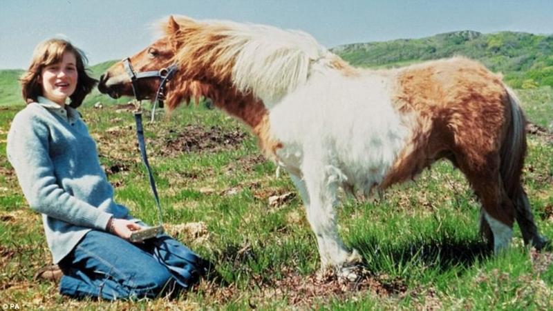 Công nương chụp ảnh cùng chú ngựa Souffle tại nhà mẹ ở Scotland vào mùa Hè năm 1974.
