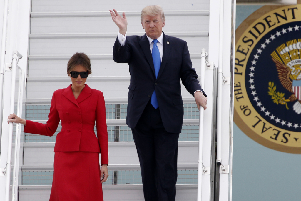 Mandatory Credit: Photo by AP/REX/Shutterstock (8957637f) U.S President Donald Trump and First Lady Melania arrive at Orly airport, south of Paris, . Trump and his French counterpart, Emmanuel Macron, are looking to set aside differences on trade and climate change and find common ground as they meet ahead of Bastille Day celebrations in Paris Trump, Orly, France - 13 Jul 2017