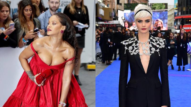 """Rihanna và Cara Delevinge """"thi nhau"""" khoe vòng một táo bạo"""