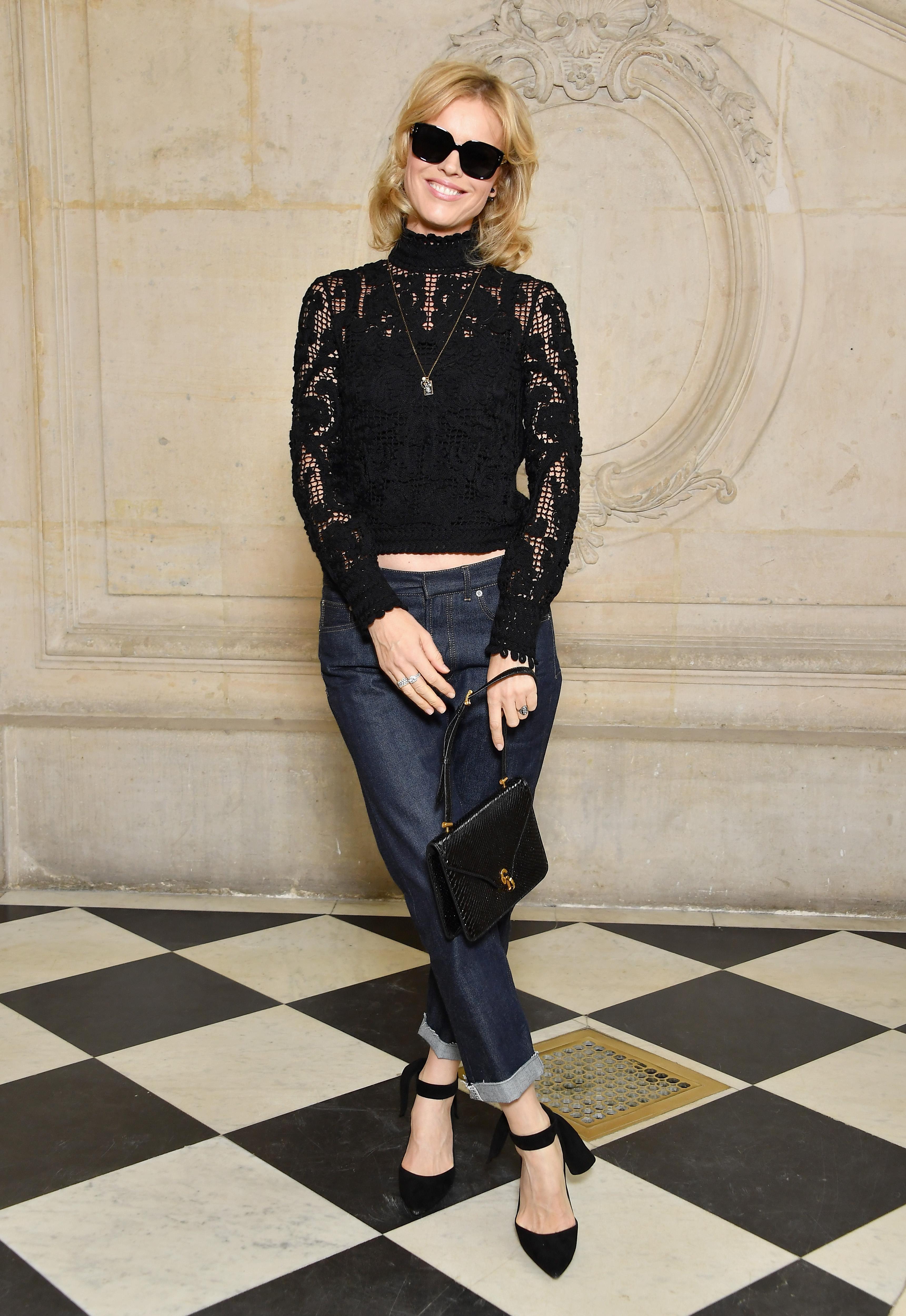 PARIS, FRANCE - SEPTEMBER 26: Eva Herzigova attends the Christian Dior show as part of the Paris Fashion Week Womenswear Spring/Summer 2018 on September 26, 2017 in Paris, France. (Photo by Pascal Le Segretain/Getty Images for Dior) *** Local Caption *** Eva Herzigova
