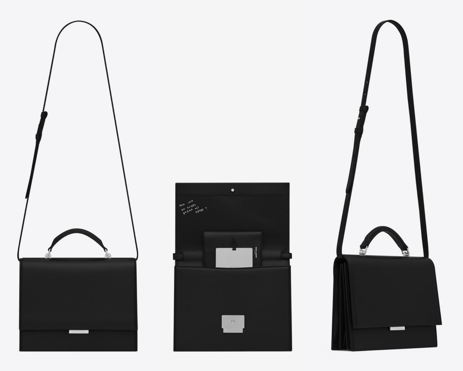 """Ngoài quai xách và quai đeo linh hoạt, túi Babylone của Saint Laurent còn """"trang bị"""" thêm gương soi và vỏ bọc passport bằng da cho bạn."""