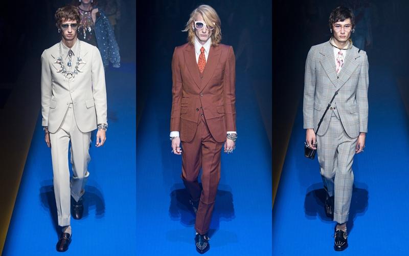 Những bộ suit được may đo theo các quy chuẩn nghiêm ngặt xuất hiện nhiều trong BST Xuân Hè 2018 của Gucci