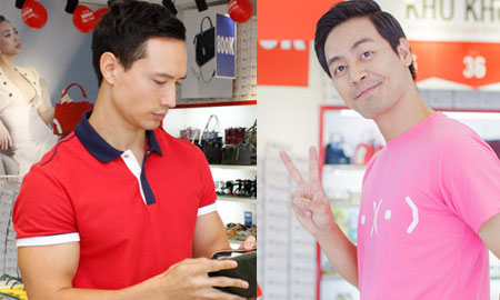 Kim Lý, Phan Anh diện áo rực rỡ đi sắm quà tặng nửa kia