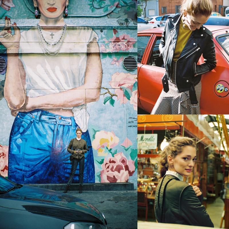 """Áo khoác may chần bông cổ tròn màu xanh nhà binh được phối cùng thắt lưng tạo điểm nhấn ngang eo vô cùng """"đắt giá"""". Những chiếc áo khoác da biker với nét cá tính có thể được phối linh hoạt cùng quần jeans hoặc chân váy điệu đà."""