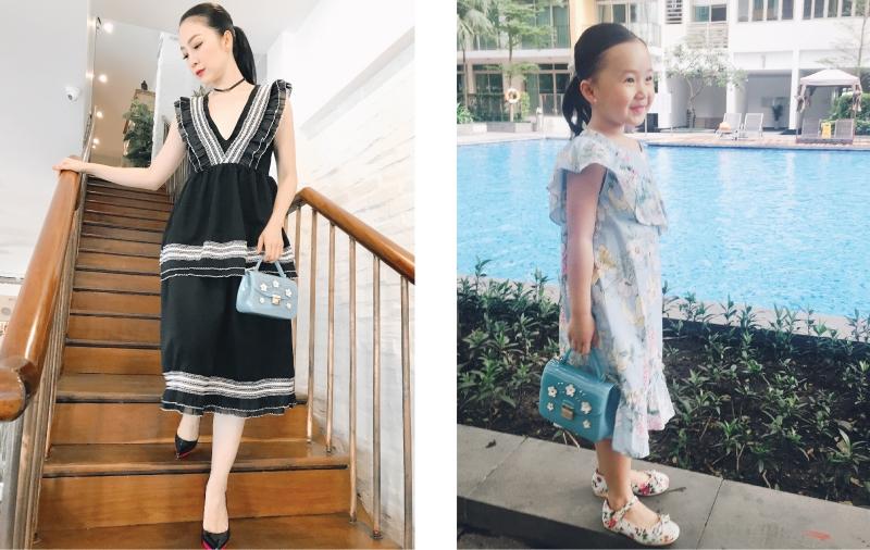 Cùng diện đầm có những đường diềm xếp nếp bay bổng, Linh Nga và bé Luna đều chọn phụ kiện cho trang phục là túi Furla Candy Sugar.
