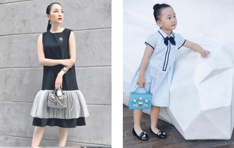 Nếu như đầm suông của Linh Nga có đắp tulle tạo độ phồng nhẹ nhàng thì bé Luna lại mặc đầm suông có chiếc nơ xinh xắn tạo dấu ấn thú vị.