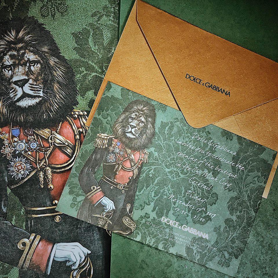 Thiệp mời tham gia sự kiện khai trương cửa hàng Dolce & Gabbana đầu tiên tại Việt Nam