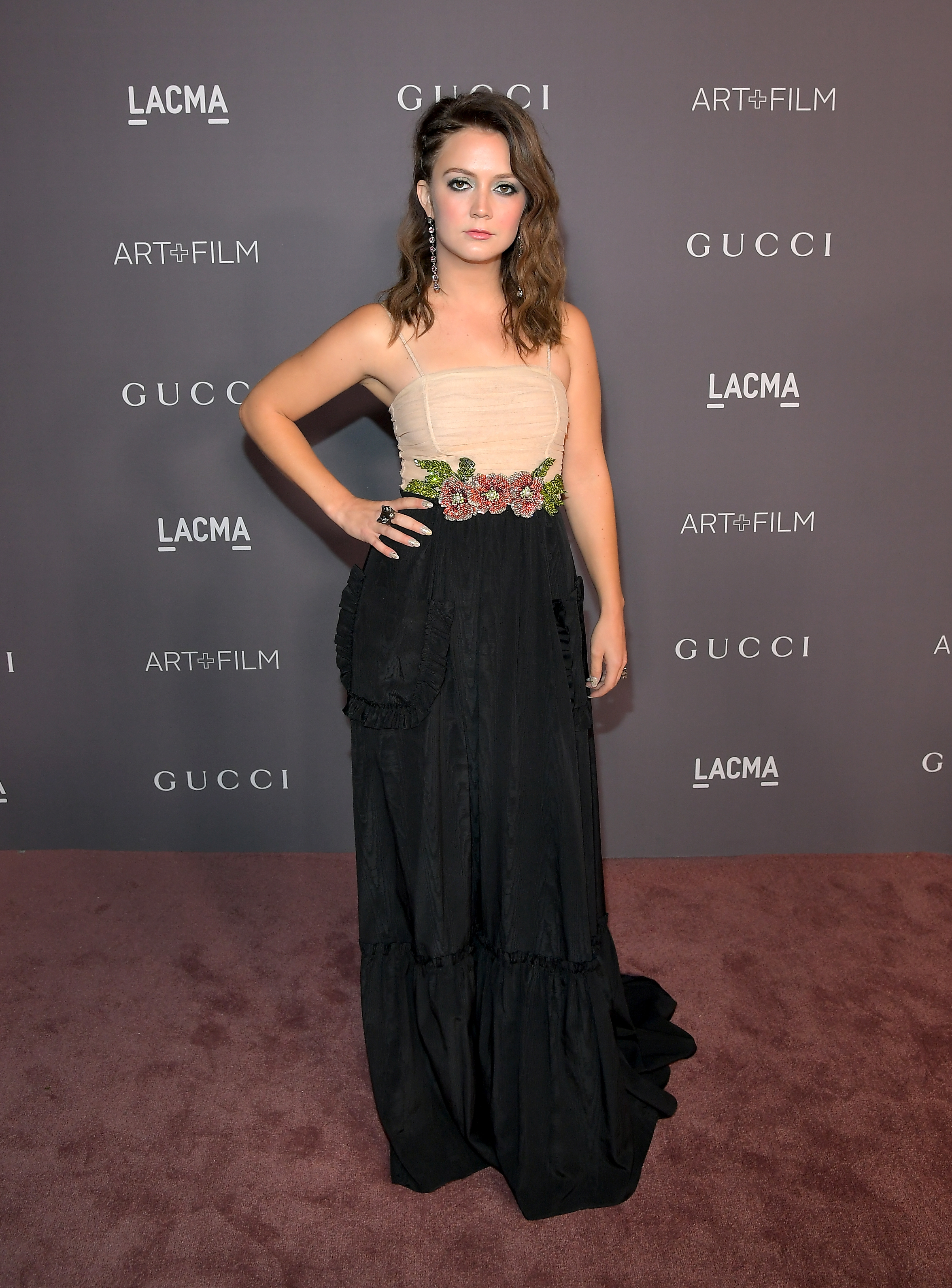 LOS ANGELES, CA - NOVEMBER 04: Actor Billie Lourd, wearing Gucci, attends the 2017 LACMA Art + Film Gala Honoring Mark Bradford and George Lucas presented by Gucci at LACMA on November 4, 2017 in Los Angeles, California. (Photo by Charley Gallay/Getty Images for LACMA)