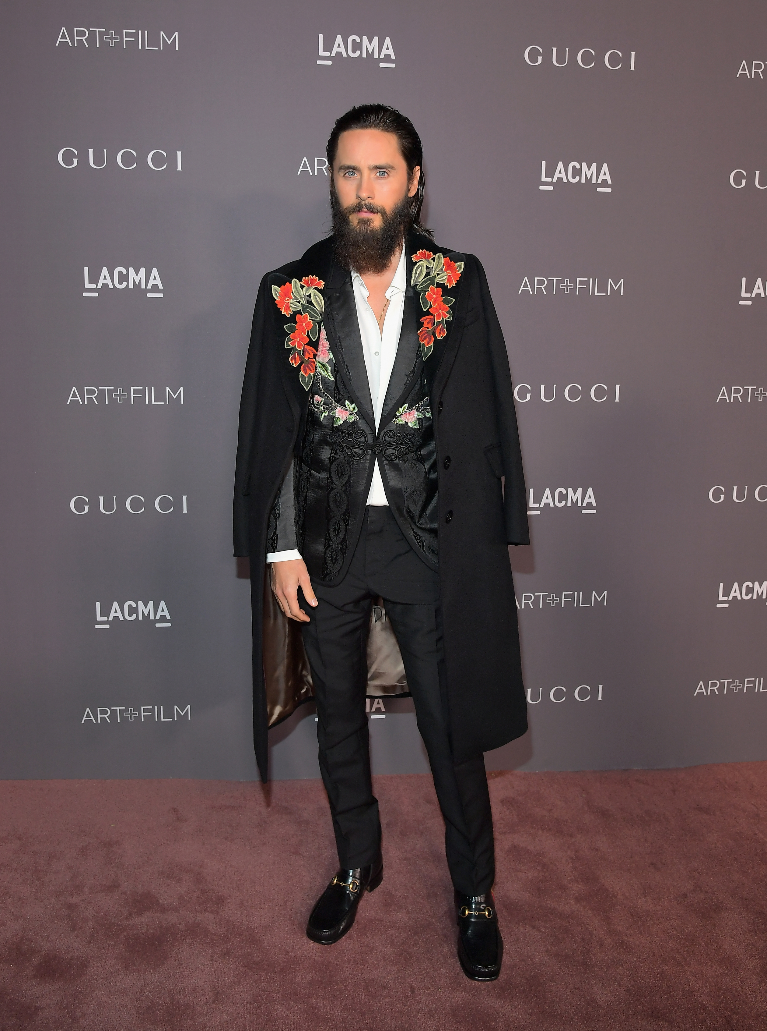LOS ANGELES, CA - NOVEMBER 04: Actor Jared Leto, wearing Gucci, attends the 2017 LACMA Art + Film Gala Honoring Mark Bradford and George Lucas presented by Gucci at LACMA on November 4, 2017 in Los Angeles, California. (Photo by Charley Gallay/Getty Images for LACMA)