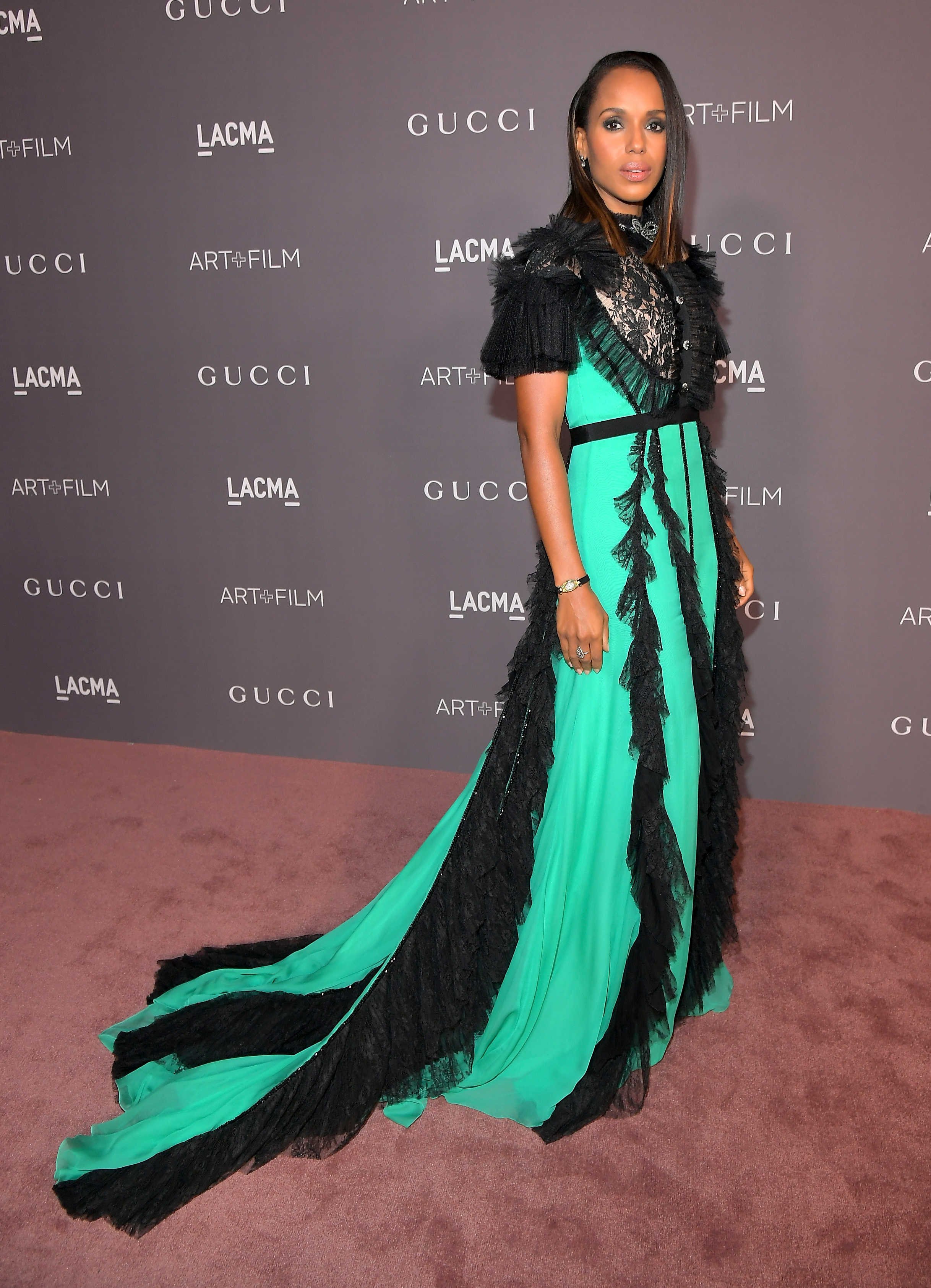 LOS ANGELES, CA - NOVEMBER 04: Actor Kerry Washington, wearing Gucci, attends the 2017 LACMA Art + Film Gala Honoring Mark Bradford and George Lucas presented by Gucci at LACMA on November 4, 2017 in Los Angeles, California. (Photo by Charley Gallay/Getty Images for LACMA)