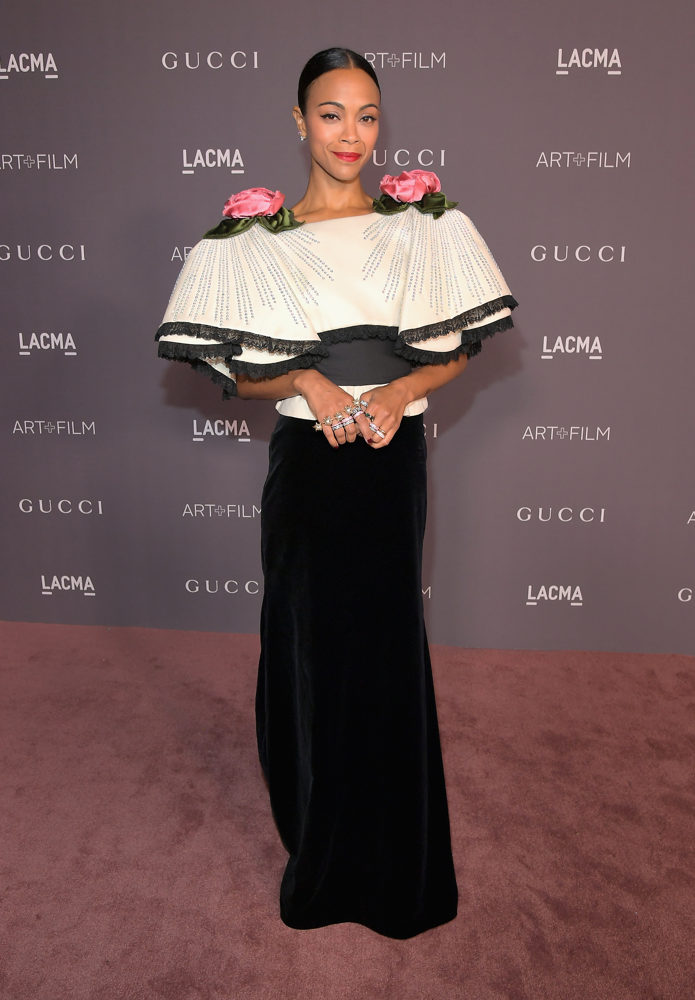 LOS ANGELES, CA - NOVEMBER 04: Actor Zoe Saldana, wearing Gucci, attends the 2017 LACMA Art + Film Gala Honoring Mark Bradford and George Lucas presented by Gucci at LACMA on November 4, 2017 in Los Angeles, California. (Photo by Charley Gallay/Getty Images for LACMA)