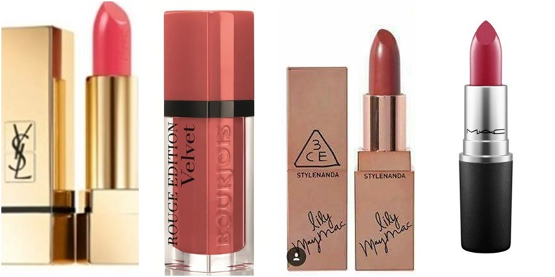 Từ trái qua: YSL Rouge Pur Couture (No.52) - Bourjoirs Rouge Edition Velvet (Peach Club 04) - 3CE LiLy Maymac (Holly Rose) - M.A.C (D for danger)