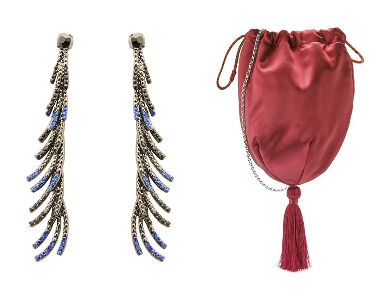 Hoa tai to bản cùng với túi xách nhỏ màu nổi bật hoàn thiện tổng thể trang phục