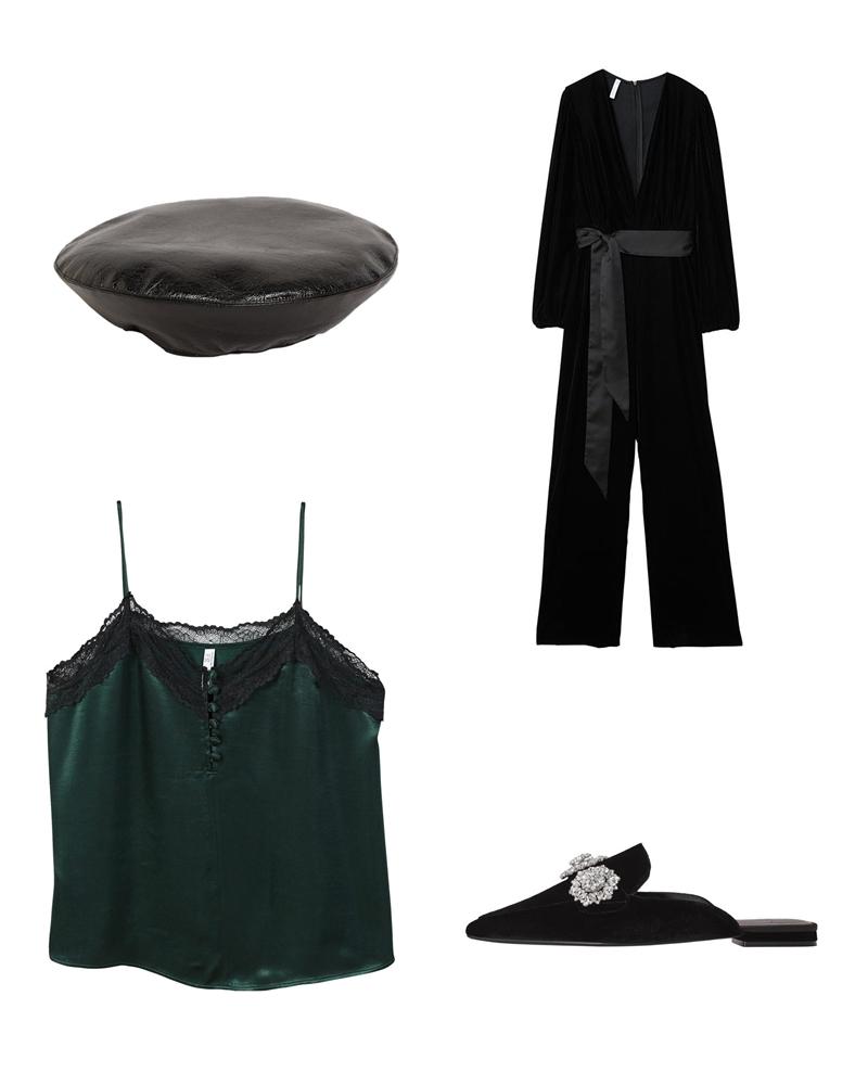 """Tất cả những xu hướng """"hot"""" nhất được phối trong một bộ trang phục như mũ beret, giày xỏ bệt, áo camisole phối ren gợi cảm và jumpsuit nhung."""